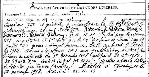 mens yves joseph marie beuzec prisonnier goddelau darmtadt quimper 14-18 Finistère Non Mort France Réformé maladie tuberculose suicide fusillé accident