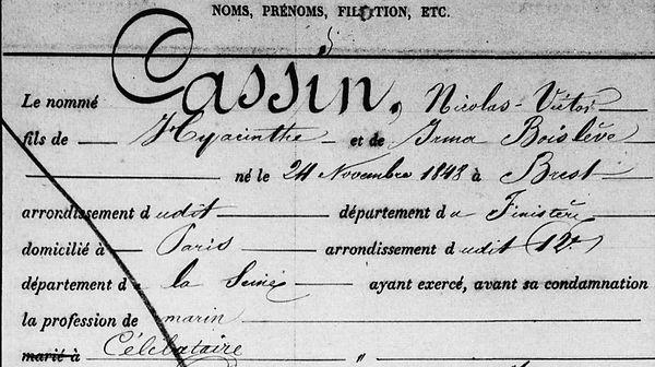 Cassin Nicolas Victor communard commune paris brest finistere bagne nouvelle caledonie