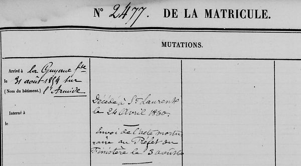 Guilcher François Marie saint sauveur locmelar deniel oeriou maroni bagne guyane bagnard finistere