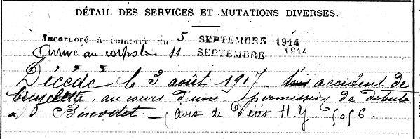 gleonec jean fouesnant souchez benodet 14-18 Finistère Non Mort France Réformé maladie tuberculose suicide fusillé accident