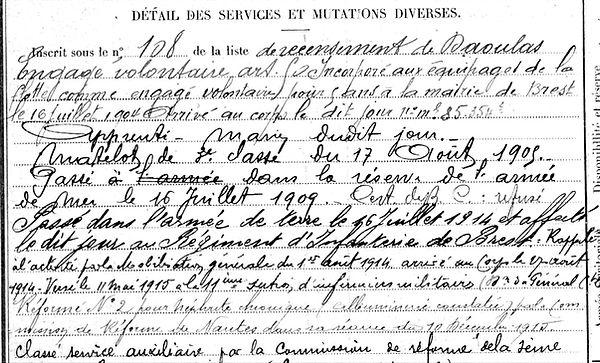 creismeas jean yves daoulas 14-18 Finistère Non Mort France Réformé maladie tuberculose suicide fusillé accident