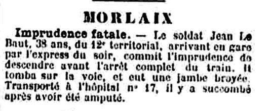 le baut jean pierre hopital camfrout morlaix 14-18 Finistère Non Mort France Réformé maladie tuberculose suicide fusillé accident
