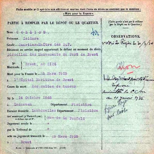 colliou isidore lesneven lambezellc brest 14-18 Finistère Non Mort France Réformé maladie tuberculose suicide fusillé accident