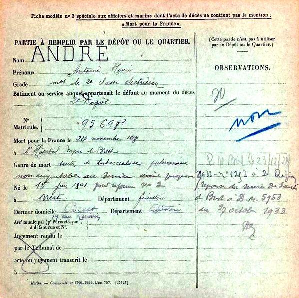 André Antoine Henri Bret Guerre 14-18 Finistère Non Mort France Réformé maladie tuberculose suicide fusillé accident