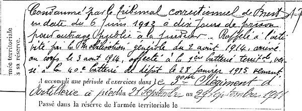 kerhoas jean hanvec versailles 14-18 Finistère Non Mort France Réformé maladie tuberculose suicide fusillé accident