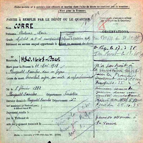 corre antoine marie plougastel daoulas 14-18 Finistère Non Mort France Réformé maladie tuberculose suicide fusillé accident