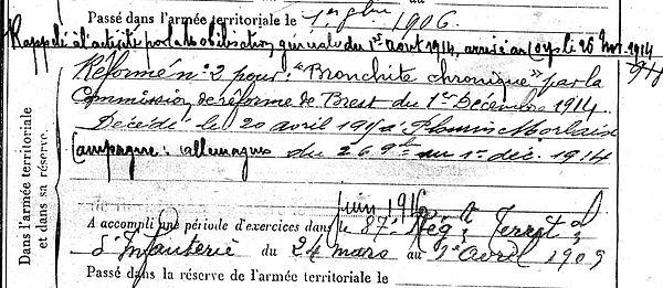 grall yves marie plourin morlaix zouave algerie 14-18 Finistère Non Mort France Réformé maladie tuberculose suicide fusillé accident
