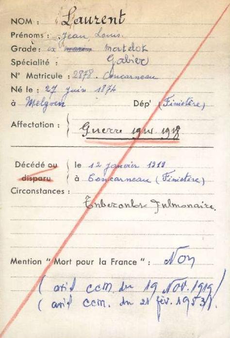 laurent jean louis melgven concarneau 14-18 Finistère Non Mort France Réformé maladie tuberculose suicide fusillé accident