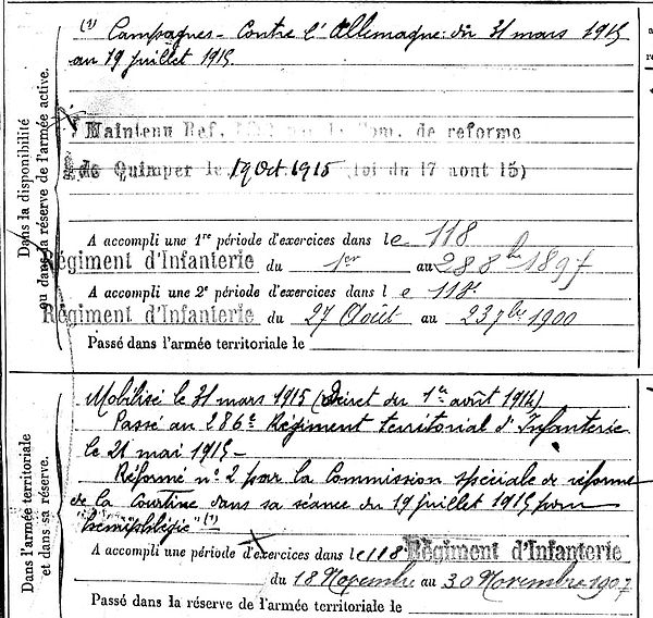 moullec jean marie audierne 14-18 Finistère Non Mort France Réformé maladie tuberculose suicide fusillé accident