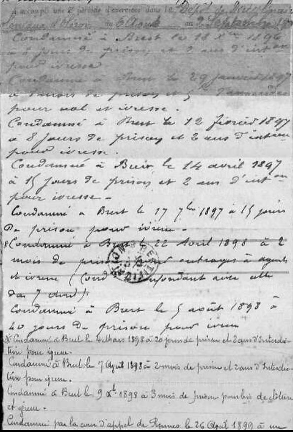 Floch François Marie quentel brest lambezellec bagne guyane bagnard