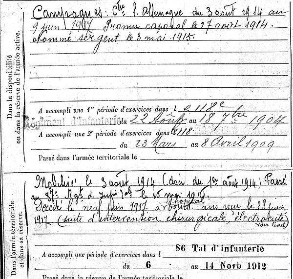 sillec jean charles tregourez tours 14-18 Finistère Non Mort France Réformé maladie tuberculose suicide fusillé accident