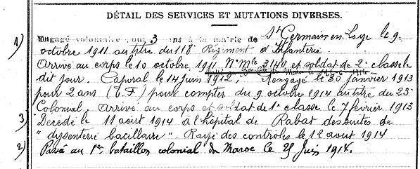 le dreau jean louis felix marie saint evarzec rabat maroc 14-18 Finistère Non Mort France Réformé maladie tuberculose suicide fusillé accident