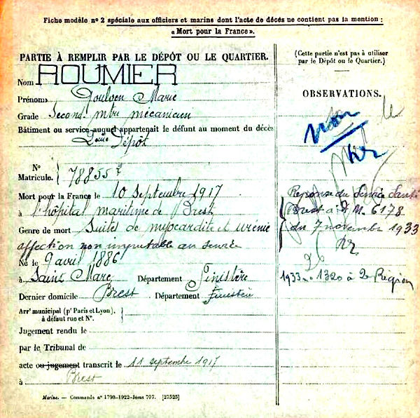 roumier goulven louis marie brest saint marc 14-18 Finistère Non Mort France Réformé maladie tuberculose suicide fusillé accident