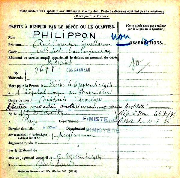 philippon rene corentin guillaume brest port louis 14-18 Finistère Non Mort France Réformé maladie tuberculose suicide fusillé accident