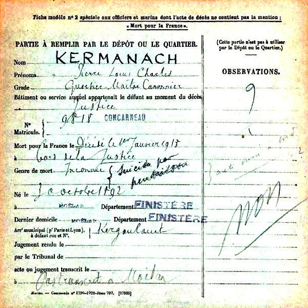 kermanach pierre louis charles moelan cuirasse justice 14-18 Finistère Non Mort France Réformé maladie tuberculose suicide fusillé accident