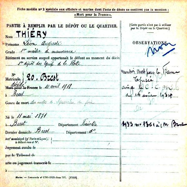 thiery leon auguste brest cherbourg 14-18 Finistère Non Mort France Réformé maladie tuberculose suicide fusillé accident