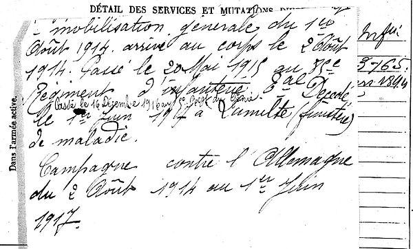 le verge rené marie kernilis lanildut glizit 14-18 Finistère Non Mort France Réformé maladie tuberculose suicide fusillé accident