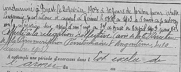 Yvinec Auguste Marie brest quemeneur lhostis bagne guyane bagnard finistere