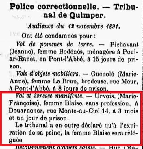 Urvoas Marie Françoise plouhinec douarnenez bagne guyane