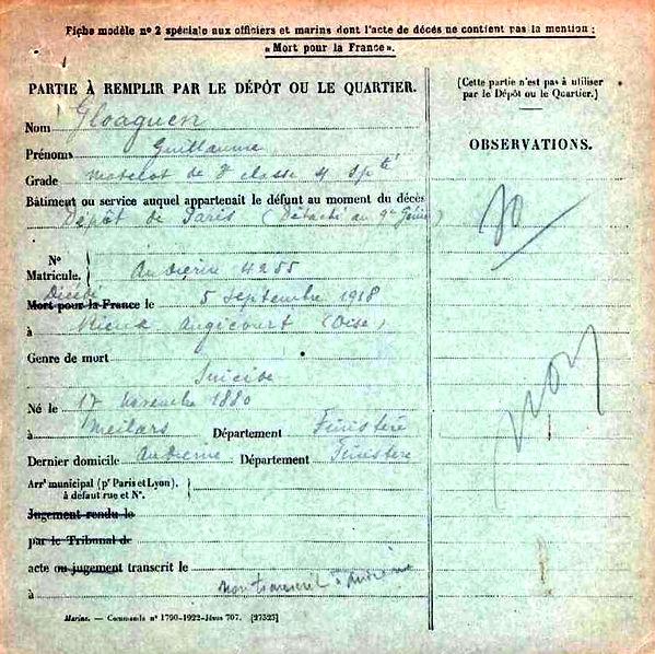 gloaguen guillaume confort meilars rieux angicourt 14-18 Finistère Non Mort France Réformé maladie tuberculose suicide fusillé accident