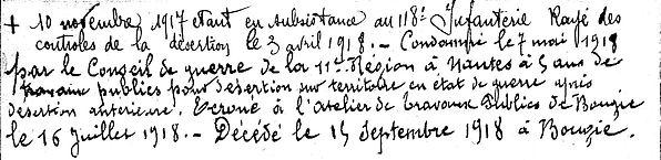 le beon jean françois deserteur souk ahras bougie algerie 14-18 Finistère Non Mort France Réformé maladie tuberculose suicide fusillé accident