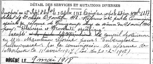 philip tanguy plounevez lochrist 14-18 Finistère Non Mort France Réformé maladie tuberculose suicide fusillé accident