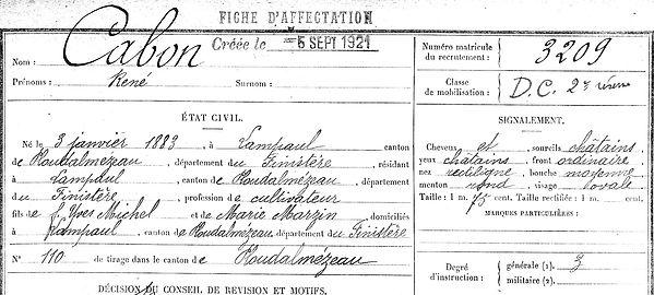 Cabon René Lampaul ploudalmezeau patrick milan anne apprioual guerre 1914 1917 14 18 patrimoine histoire plouguin finistere saint pabu