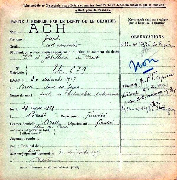 Ach Joseph Brest Guerre 14-18 Finistère Non Mort France Réformé maladie tuberculose suicide fusillé accident
