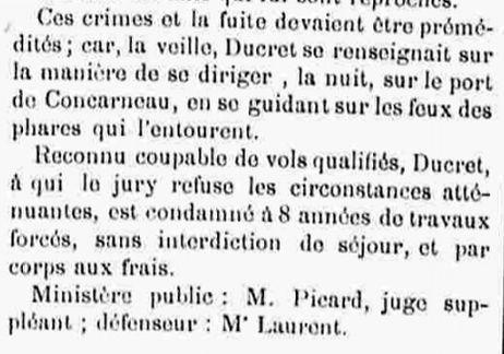 Ducret Jean François douarnenez glenans bagne guyane bagnard finistere