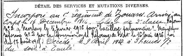 cleach jean taule zouave 14-18 Finistère Non Mort France Réformé maladie tuberculose suicide fusillé accident