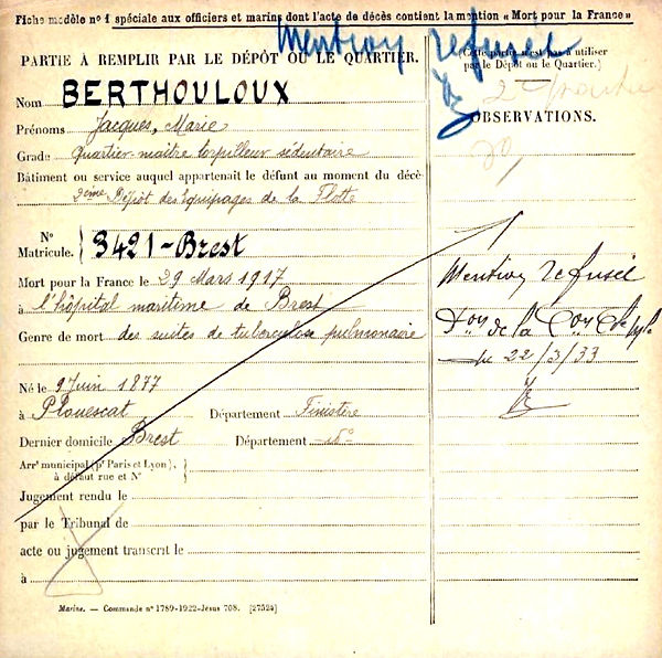 berthouloux jacques marie torpilleur plouescat brest 14-18 Finistère Non Mort France Réformé maladie tuberculose suicide fusillé accident