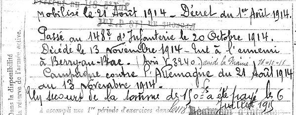 Canevet Hevé Peumerit Guerre 1914 1918 14-18 Finistère Finistérien Mort pour la France Berry au Bac cote 108 Sapigneul Choléra Moscou Mauchamp