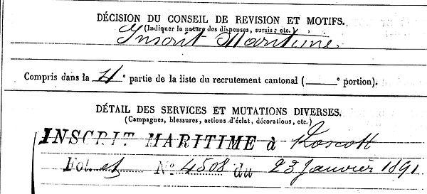 quiniou vincent inscrit maritme plouider brest lambezellec 14-18 Finistère Non Mort France Réformé maladie tuberculose suicide fusillé accident
