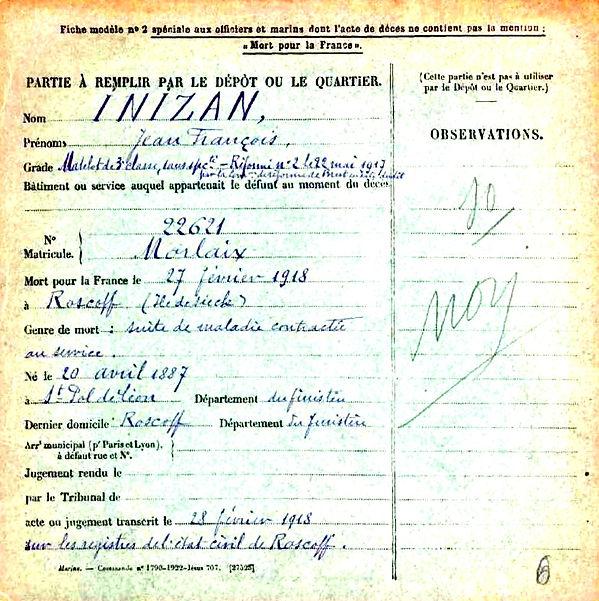 inizan jean françois saint pol de leon roscokk ile sieck 14-18 Finistère Non Mort France Réformé maladie tuberculose suicide fusillé accident