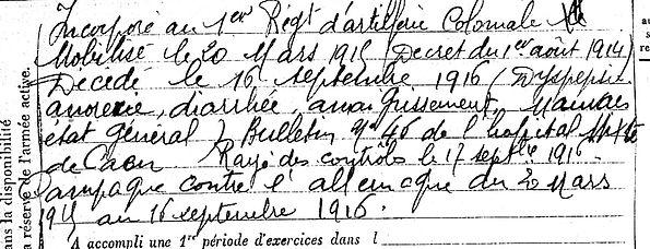 caradec louis marie pouldergat caen 14-18 Finistère Non Mort France Réformé maladie tuberculose suicide fusillé accident