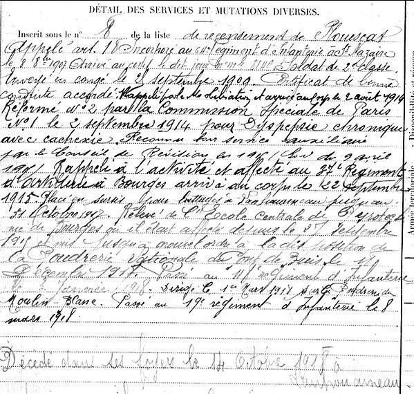 simon jean yves marie lanhouarneau poudrerie moulin blanc brest bourges 14-18 Finistère Non Mort France Réformé maladie tuberculose suicide fusillé accident