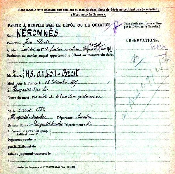 keromnes jean claude plougastel daoulas 14-18 Finistère Non Mort France Réformé maladie tuberculose suicide fusillé accident
