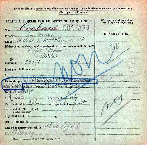 cochard jean marie kerlouan aviso drome moudros lemnos grece 14-18 Finistère Non Mort France Réformé maladie tuberculose suicide fusillé accident