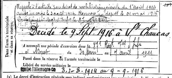 lhostis l'hostis goulven plabennec saint chamas 14-18 Finistère Non Mort France Réformé maladie tuberculose suicide fusillé accident