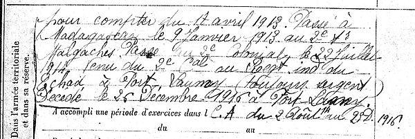 marzin alexandre marie tonkin madagascar fort lamy tchad 14-18 Finistère Non Mort France Réformé maladie tuberculose suicide fusillé accident