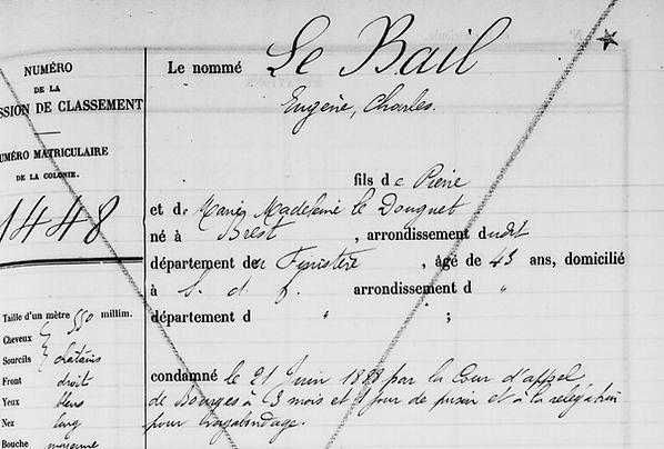 Le Bail Eugène Charles brest bagne guyane bagnard