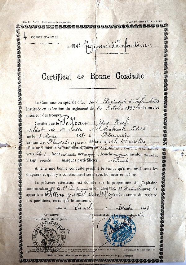 Certificat de bonne conduite 1905 Pelleau yves noel plouguin lossouarn guerre 14 18 1914 1918 patrick milan patrimoine histoire finistere
