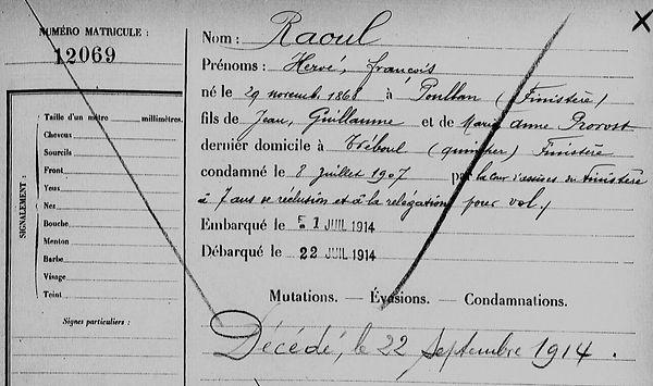 Raoul Hervé François poullan treboul finistere bagne guyane bagnard