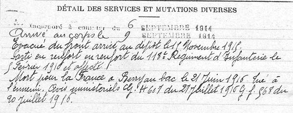 Caradec Yves François La Foret Fouesnant Guerre 1914 1918 14-18 Finistère Finistérien Mort pour la France Berry au Bac cote 108 Sapigneul Choléra Moscou Mauchamp