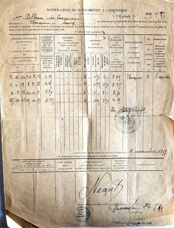 Allocations Veuve de guerre Pelleau yves noel plouguin lossouarn guerre 14 18 1914 1918 patrick milan patrimoine histoire finistere