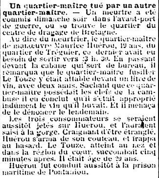 le touze jean guillaume nevez brest couteau rixe 14-18 Finistère Non Mort France Réformé maladie tuberculose suicide fusillé accident