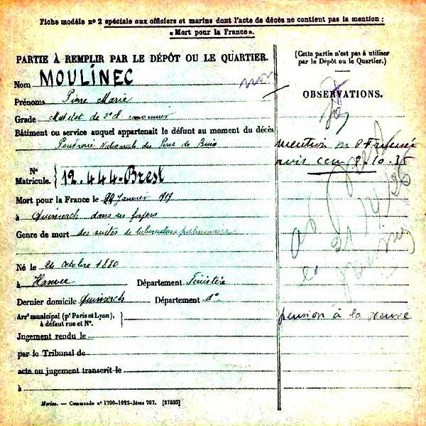 moulinec pierre marie hanvec pudrerie pont buis quimerch 14-18 Finistère Non Mort France Réformé maladie tuberculose suicide fusillé accident