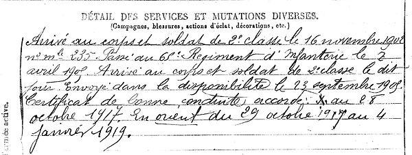 loriquet henri carhaix grece zeitenlik 14-18 Finistère Non Mort France Réformé maladie tuberculose suicide fusillé accident