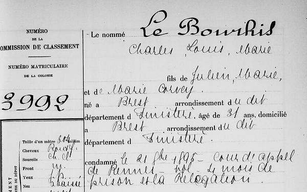 Le Bourhis Charles Louis Marie brest bagne guyane bagnard corvey finistere
