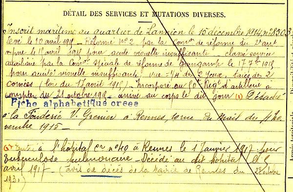 le marrec auguste pleumeur bodou rennes 14-18 Finistère Non Mort France Réformé maladie tuberculose suicide fusillé accident
